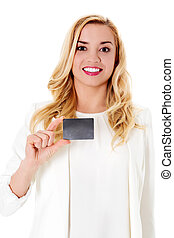 Happy woman showing business card, isolated over white...
