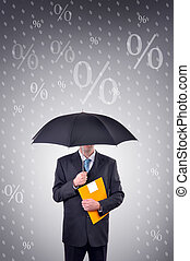 Security - Businessman is holding an umbrella, illustrated...