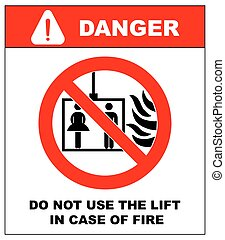 Vector fire emergency icons. Do not use the lift in case of...