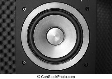 Studio music audio speaker producer - Close up of black...