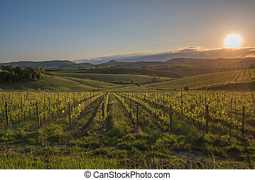 Sunset over the hills of Tuscany, Italy