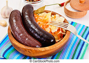 Black Pudding Kaszanka with Sauerkraut Studio Photo