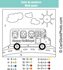 Coloring page with kids in school bus. Color by numbers math game