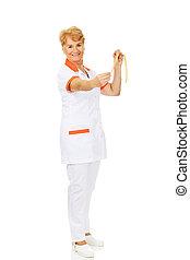 Smile elderly doctor or nurse holds measuring tape