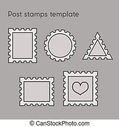Set of post stamp template - Vector set of post stamp...