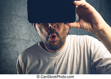 Man watching 3d virtual pornographic content - Man watching...