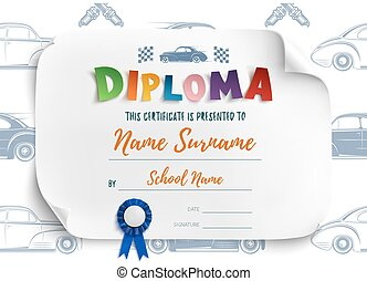 Diploma template with racing cars. - Diploma template for...