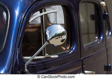 close up of the mirror of an old car