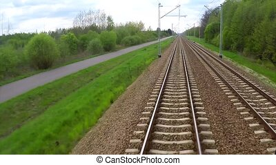 View from moving train of railway - View from moving train...