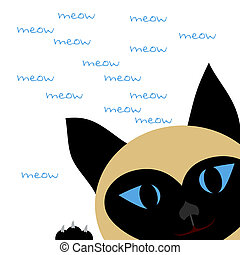 meow meow - Siamese Cat face and paw on white illustration