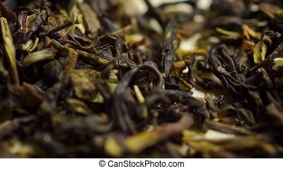 Heap of jasmine green tea macro dolly shot clip