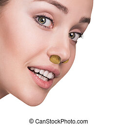 Young woman with stuffiness - Young woman with sinus...