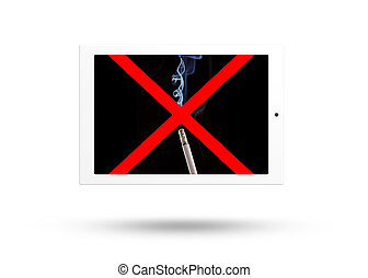Tablet computer with no smoke sign isolated over white...