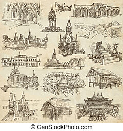 An hand drawn pack, collection - set of architecture -...