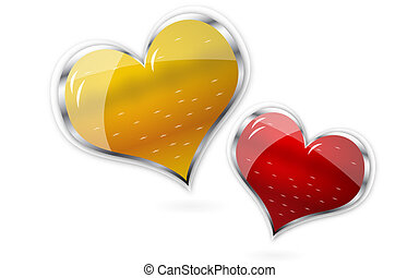 red and golden shiny vector hearts