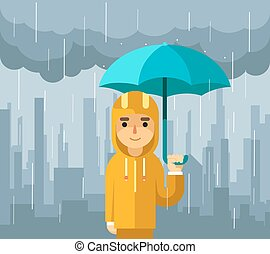 Under rain with umbrella. Man vector illustration