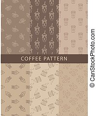 Mosaic Set Of Seamless Coffee Themed Patterns In Trendy...