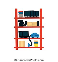 Storehouse Shelf With Objects Simplified Flat Vector Design...