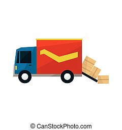 Long Distance Cargo Truck With Boxes Falling Out Simplified...