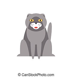 Persian Cat Breed Primitive Cartoon Illustration