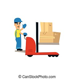 Worker Operating Forklift Machine Simplified Flat Vector...
