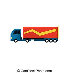 Big Long Distance Cargo Truck Simplified Flat Vector Design...
