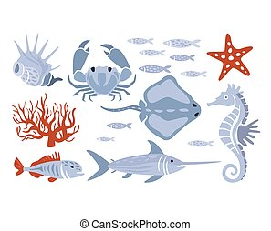 Stylized Underwater Nature Set Of Icons In Flat Atristic...