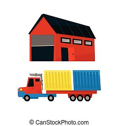 Storehouse And Long Distance Cargo Truck Simplified Flat...