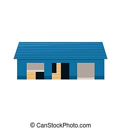 Blue Storehouse Building Simplified Flat Vector Design...