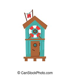 Beach Cabin With Life Preserver Buoy Cartoon Style Colorful...
