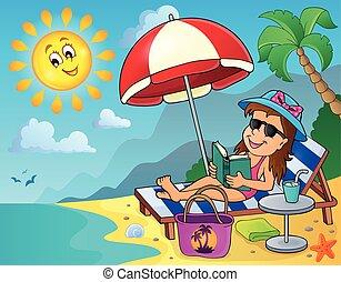 Girl on sunlounger