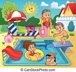 Children by pool theme