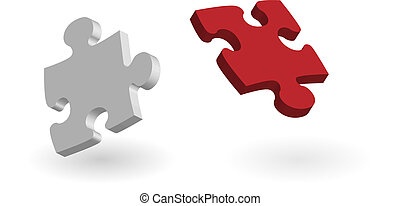 red and white puzzle pieces isolate