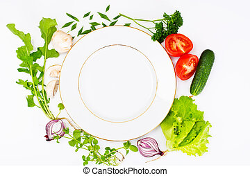 Fresh Spring Vegetables, Greens and Empty  Plate with Place for