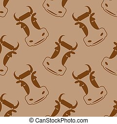 Cow seamless pattern. Head of bull pattern. beef texture. Cute farm animals. Retro background for childrens fabric