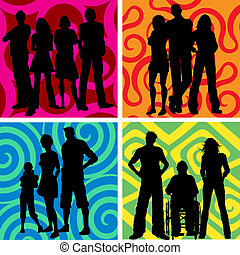 Groups of people - Silhouettes of groups of people on...