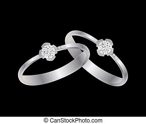 diamond ring in white gold and black background