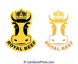 Royal Beef logo Cow in crown Logo for production of meat...