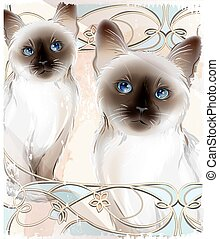 Portrait of the couple Thai cats Traditional Siamese cats...