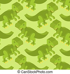 Tyrannosaurus isometric texture Dinosaur seamless pattern...