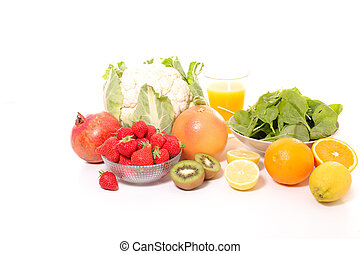 fruit and vegetable isolated on white