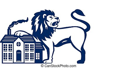 Angry Lion Paw on House Isolated Retro