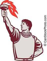 Spanish Conquistador Raising Up Torch Retro - Illustration...
