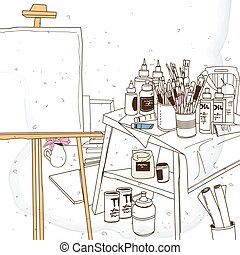 atelier sketches, art tools and easel in atelier