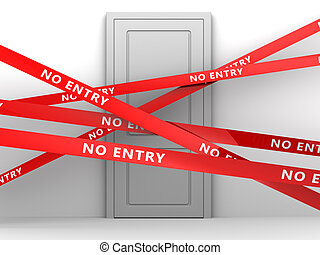 no entry - 3d illustration of room door and no entry tape