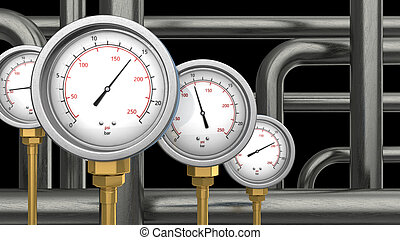 manometers and pipes - 3d illustration of manometers and...