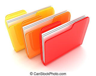 folders - 3d illustration of three folders ornage and red...