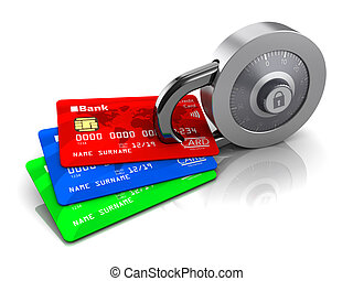 credit cards and lock - 3d illustration of credit cards...