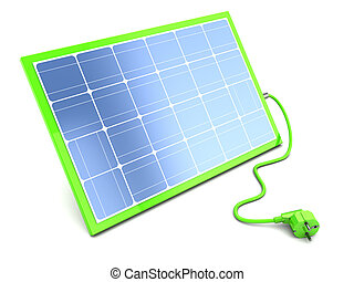 solar panel with power cable - 3d illustration of green...