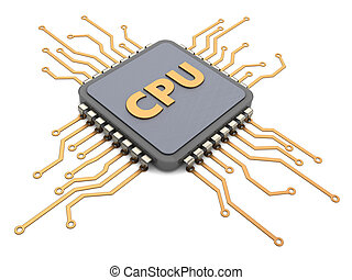 cpu - 3d illustration of cpu over white background